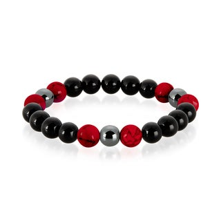 Crucible Men's Red Turquoise, Onyx and Hematite Polished Natural Healing Stone Bead Stretch Bracelet - 8.5 inches (10mm Wide)