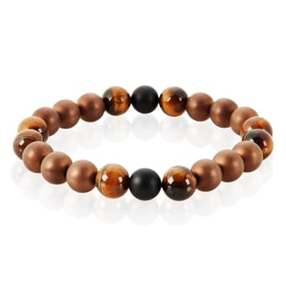 Crucible Men's Red Tiger Eye, Onyx and Hematite Natural Healing Stone Bead Stretch Bracelet - 8.5 inches (10mm Wide)