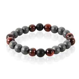 Crucible Men's Tiger Eye, Onyx and Hematite Natural Healing Stone Bead Stretch Bracelet - 8.5 inches (10mm Wide)