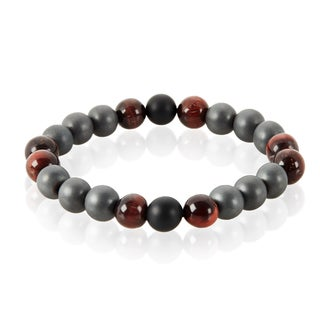 Crucible Tiger's Eye and Onyx Natural Healing Stone Bead Stretch Bracelet (10mm) - Red