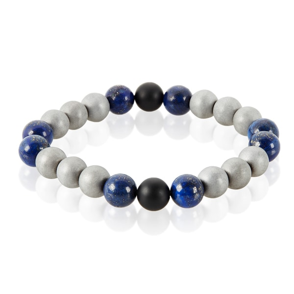 Crucible Sodalite Natural Healing Stone Bead Stretch Bracelet (10mm) - Blue