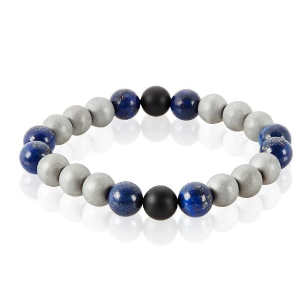 Men's Sodalite Natural Healing Stone Bead Stretch Bracelet (10mm) - Blue. Opens flyout.