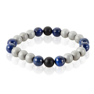 Crucible Men's Sodalite, Onyx, Hematite Natural Healing Stone Bead Stretch Bracelet - 8.5 inches (10mm Wide)
