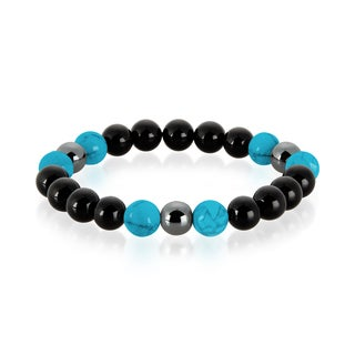 Crucible Men's Turquoise, Onyx and Hematite Polished Natural Healing Stone Bead Stretch Bracelet - 8.5 inches (10mm Wide)