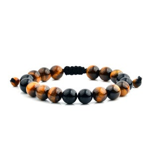 Men's Tiger Eye and Black Onyx Polished Natural Healing Stone Bead Adjustable Bracelet - 8 inches (10mm Wide)