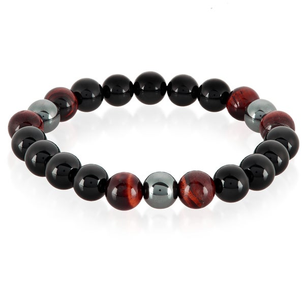 Crucible Men's Red Tiger Eye, Onyx and Hematite Polished Natural Healing Stone Bead Stretch Bracelet - 8.5 inches (10mm Wide)