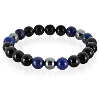 Crucible Men's Lapis Lazuli, Onyx and Hematite Polished Natural Healing Stone Bead Stretch Bracelet - 8.5 inches (10mm Wide)