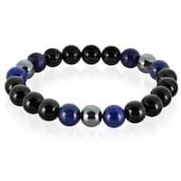 Crucible Lapis Lazuli and Onyx Natural Healing Stone Bead Stretch Bracelet (10mm) - Black
