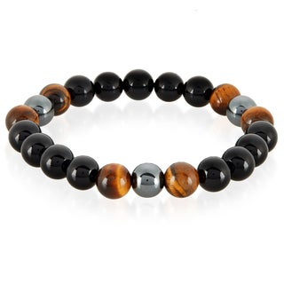 Crucible Men's Tiger Eye, Onyx and Hematite Polished Natural Healing Stone Bead Stretch Bracelet - 8.5 inches (10mm Wide)