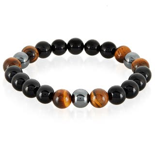 Crucible Men's Tiger Eye, Onyx and Hematite Polished Natural Healing Stone Bead Stretch Bracelet - 8.5 inches (10mm Wide)|https://ak1.ostkcdn.com/images/products/13537367/P20217241.jpg?impolicy=medium