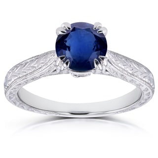 Annello by Kobelli 14k White Gold Sapphire and Diamond Antique Engraved Engagement Ring (G-H, I1-I2)