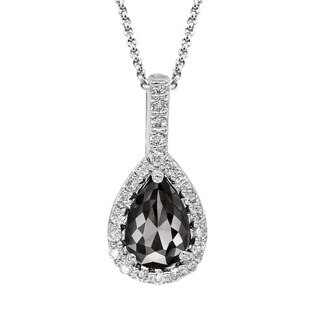 14k White Gold 1ct TDW Pear-shape Black and White Diamond Pendant