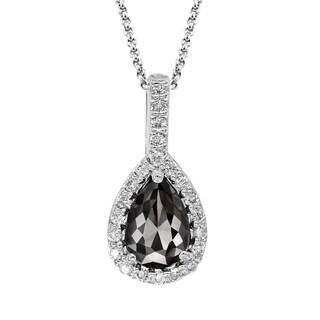 14k Gold 3/4ct TDW Patented Pear-shape Black and White Diamond Pendant