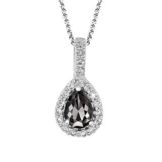14k Gold 5/8ct TDW Pear-shape Black and White Diamond Pendant