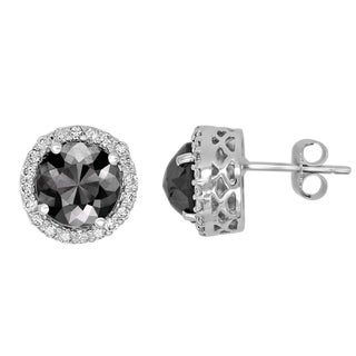 14k Gold 3 1/2ct TDW Round Black and White Diamond Earrings