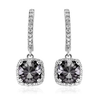 14k Gold 4 1/10ct TDW Cushion-cut Black and White Diamond Dangling Earrings