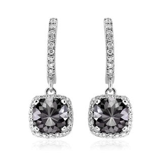 14k Gold 2 1/2ct TDW Cushion-cut Black and White Diamond Dangling Earrings