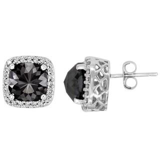14k Gold 7 1/10ct TDW Cushion-cut Black and White Diamond Earrings