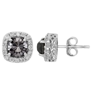 14k Gold 2 1/2ct TDW Cushion-cut Black and White Diamond Earrings