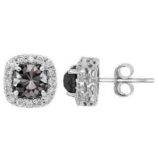 14k Gold 1 1/2ct TDW Cushion-cut Black and White Diamond Earrings