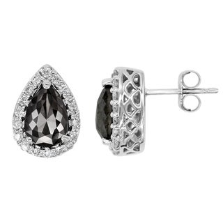14k White Gold 2ct TDW Pear-shape Black and White Diamond Earrings