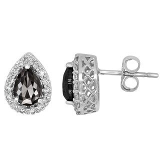 14k Gold 1 1/5ct TDW Black and White Diamond Halo Pear-shape Earrings