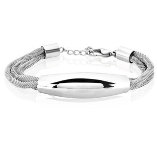 ELYA High Polish ID Mesh Stainless Steel Bracelet