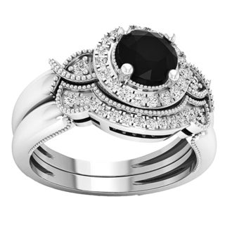 10k Gold 1ct TGW TDW Round Black and White Diamond Milgrain Bridal Halo Engagement Ring Set