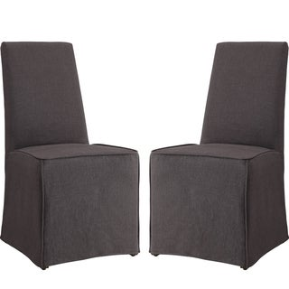 Grey Slip Covered Parson Dining Chairs (Set of 2)