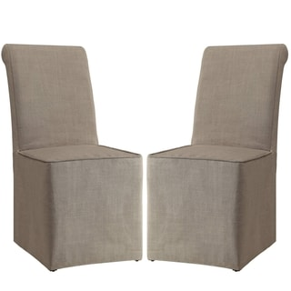 Rolled Back Beige Slip Covered Parson Dining Chairs (Set of 2)