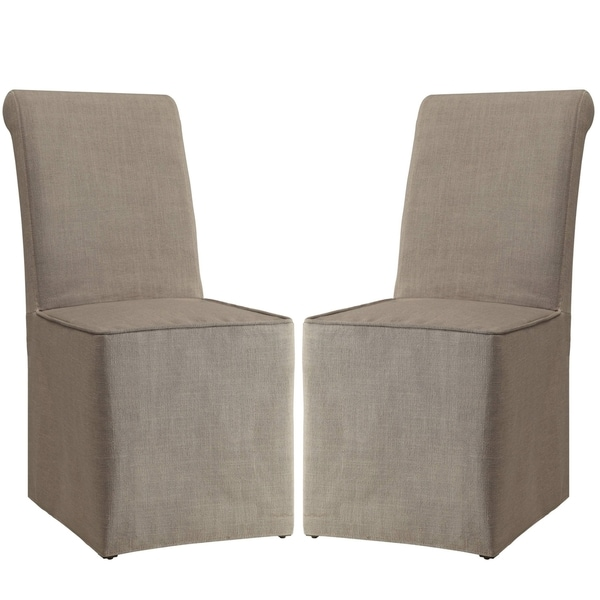 Shop Rolled Back Beige Slip Covered Parson Dining Chairs