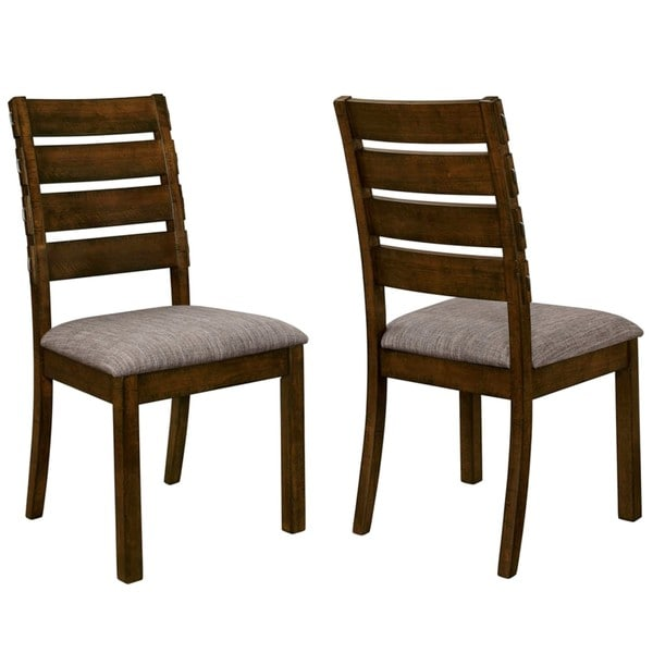 rustic design casual dining chairs with exposed metal brackets set of
