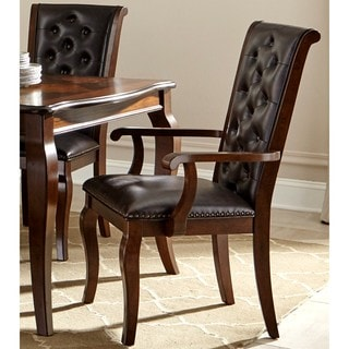 Strasbourg Traditional Elegant French Style Button Tufted Dining Arm Chairs (Set of 2)