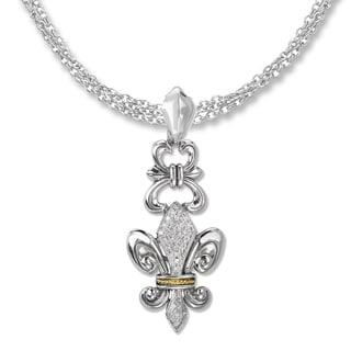 Avanti Sterling Silver and 18K Yellow Gold 1/8 CT TDW Diamond Pave Fleur-De-Lis Design Pendant Necklace (G-H, SI2-SI3)