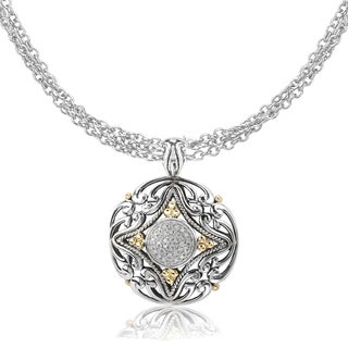 Avanti Sterling Silver and 18K Yellow Gold 1/6 CT TDW Diamond Pave Round Scroll Design Pendant Necklace (G-H, SI2-SI3)