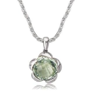 Avanti Sterling Silver Green Amethyst Flower Design Pendant Necklace