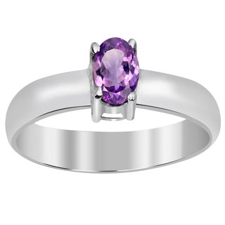 Orchid Jewelry 925 Sterling Silver 4/9 Carat Oval Cut Genuine Amethyst Ring