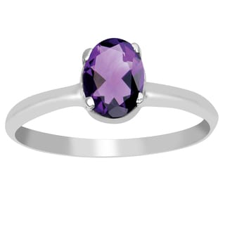 Orchid Jewelry 925 Sterling Silver 2/3 Carat Oval Cut Genuine Amethyst Fashion Ring