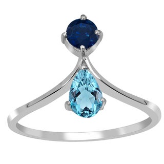 Orchid Jewelry 925 Sterling Silver 2/3 Carat Aquamarine and Sapphire Ring