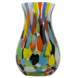 Art Glass Vase, 'Impressionist Spring' (Brazil)