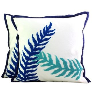 Handmade Pair of 2 Cotton Cushion Covers, 'Alluring Leaves' (India)