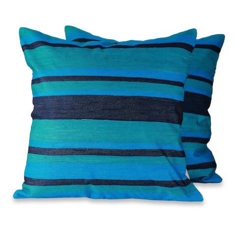 Handmade Embroidered Pair of 2 Cushion Covers Blue Streams (India)