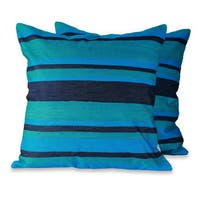 Handmade Pair of 2 Embroidered Cushion Covers, 'Blue Streams' (India)