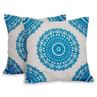 Pair of 2 Cotton Cushion Covers, 'Cool Turquoise Mandalas' (India)