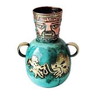 Handmade Copper And Bronze Vase, 'Inca Fishermen' (Peru)