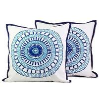 Handmade Pair of 2 Cotton Cushion Covers, 'Alluring Blue' (India)