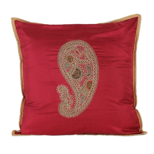 50c000d728 Shop Handmade Silk Cushion Cover, 'Paisley Delight' (India) - On Sale -  Free Shipping Today - Overstock - 13537858
