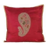 Handmade Silk Cushion Cover, 'Paisley Delight' (India)