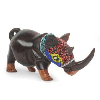 African Beaded Wood Sculpture, 'Proud Rhino' (Ghana)