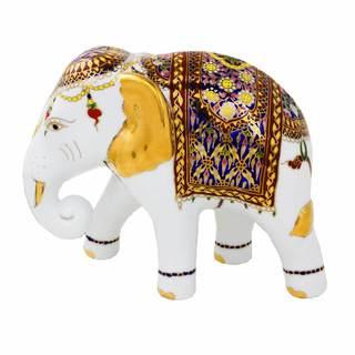 Benjarong Porcelain Statuette, 'Elegant Elephant' (Thailand)